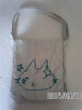 mintNeko・ドット絵風ネコフェイス柄ビッグショルダーバッグ