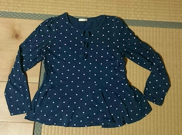 紺×白ドット 水玉 ペプラム パフスリーブ 長袖Tシャツ 140cm使