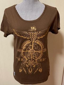 手刷りプリントTシャツ??medicine wheel??ブラウンMサイズ