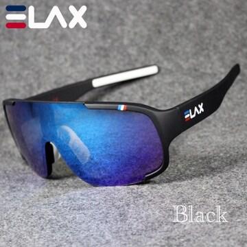 スポーツサングラス サングラス ブルーレンズ  UV400 ブラック