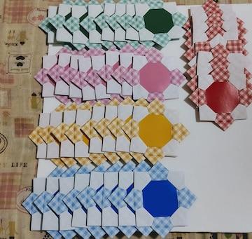 ☆折り紙メダル 花メダル チェック柄40枚☆