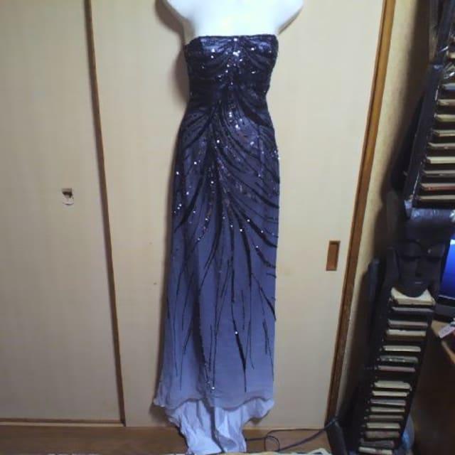 Bicici高級 ビーズ&スパン 黒グラデーション 編み上げベアロングドレス  < 女性ファッションの
