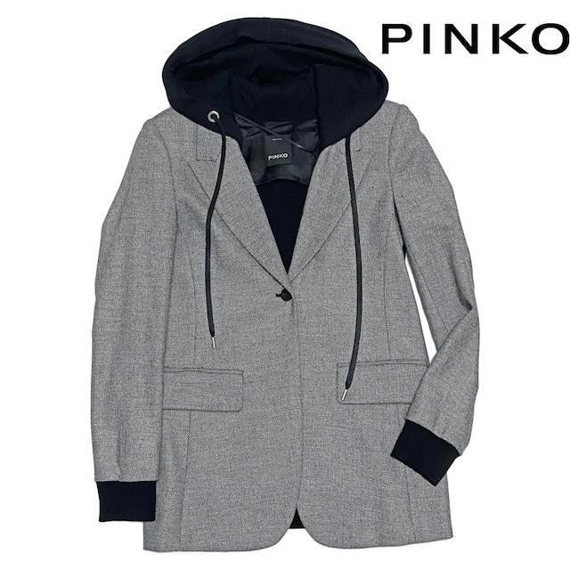 新品ピンコPINKOフード付ツイード テーラードジャケッ  < 女性ファッションの