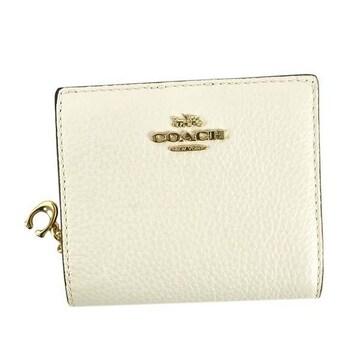◆新品本物◆コーチ ペプルレザー スナップ 2つ折財布(WT)『C2862』◆