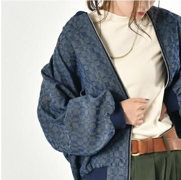 送込☆ユーズド風格子柄デニムジャケット レディース ブルー
