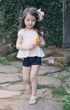 女の子☆レース付デニムショートパンツ