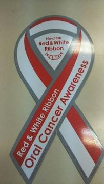 Red&white Ribbon マグネットステッカー