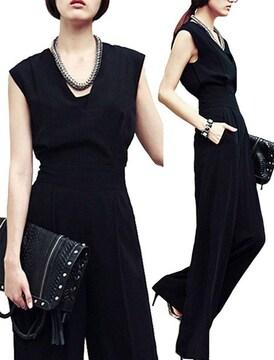 オールインワン ワイドパンツドレス(XL寸・黒)