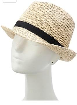 新品キューティーブロンド細編み中折れハット麦わら帽子ベージュ