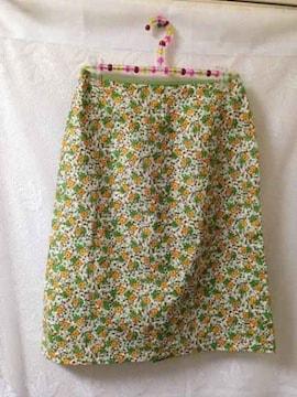 ミッシェルクラン ■グリーン イエロー 小花柄 ひざ丈 スカート