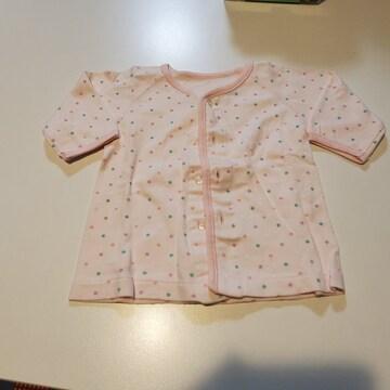 ピンクの水玉、前開き長袖下着70