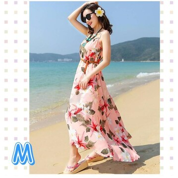 即決春夏百合の花柄マキシワンピ ピンク M