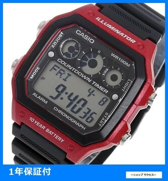 新品 即買■カシオ メンズ 腕時計 AE-1300WH-4A ブラック/レッド