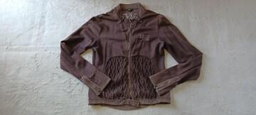 インポートItaly茶色ブラウン綿ニット長袖ライダースジャケット