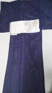とっても素敵な夏着物 深い紫色 正絹 絽 美品 小さめ