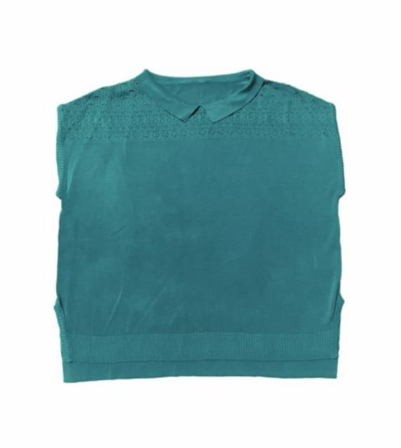 レトロ襟付き透かし編みサマーニット(M)グリーン〓新品〓 < 女性ファッションの