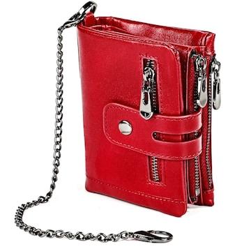 二つ折り財布 高級牛革使用 チェーン付き 大容量 赤色