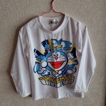 白にドラえもん柄の長袖Tシャツ110