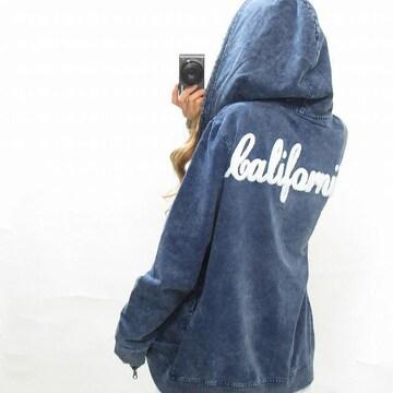 NEW最新カットデニムパーカーCaliforniaサガラ刺繍/西洋海岸5119