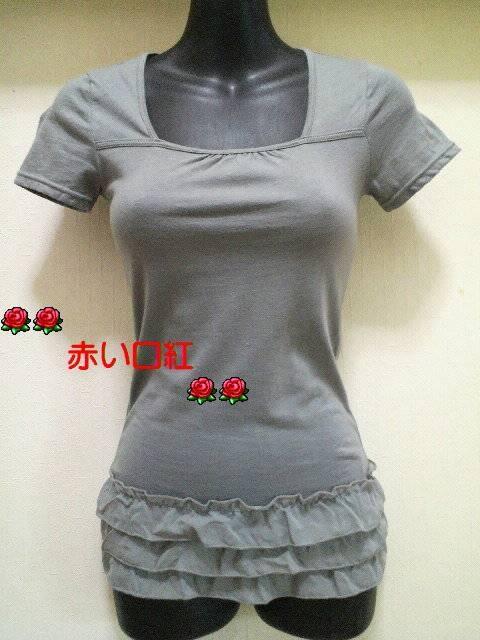 SS〜Sサイズ*細身size裾シホン3段フリル・フレンチ袖Tシャツライトグレー  < 女性ファッションの