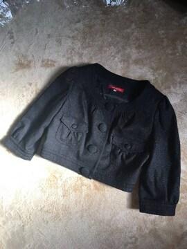 新品アプワイザーリッシェ七分袖ノーカラージャケットブラック黒