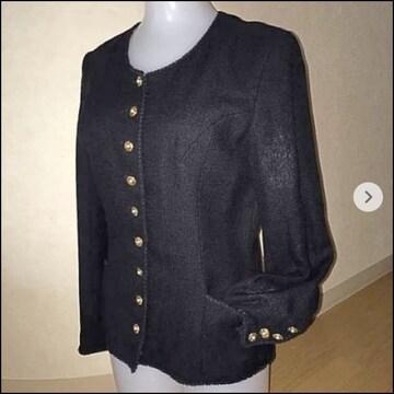 インゲボルグ  ノーカラージャケット シルク混 M 黒