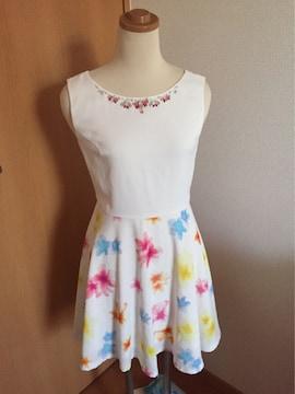 美品 ビジュー付き ミシェルマカロン 花柄スカート ドレス