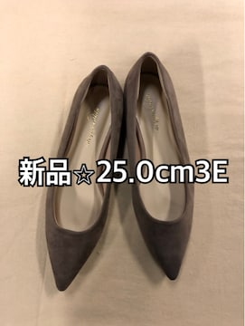 新品☆25.0cm3Eベージュぺたんこパンプス普段にも♪m106