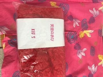 7-8才用☆金魚柄浴衣&結ぶだけの簡単な帯セット