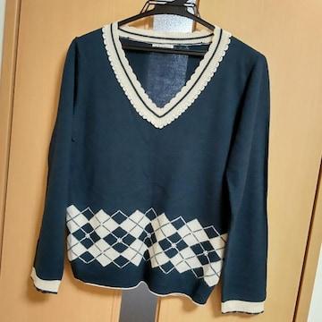 アクシーズファム セーター アーガイル ビジュー M
