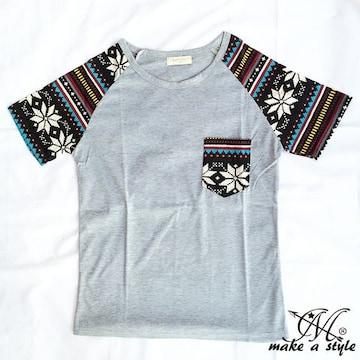 幾何学 エスニック ラグラン Tシャツ TEE 半袖 グレー 50L