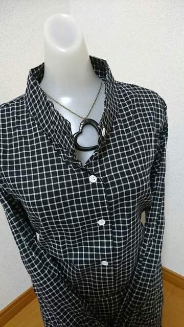 大きいサイズパステルカラーチェックブラック4L < 女性ファッションの