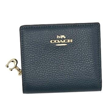 ◆新品本物◆コーチ ペプルレザー スナップ 2つ折財布(BL)『C2862』◆