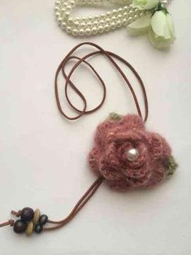ハンドメイド ネックレス 薔薇 モヘア ピンク axes好き ガーリー