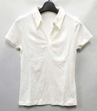ビームスライツ半袖カットソーポロシャツホワイト白トップ