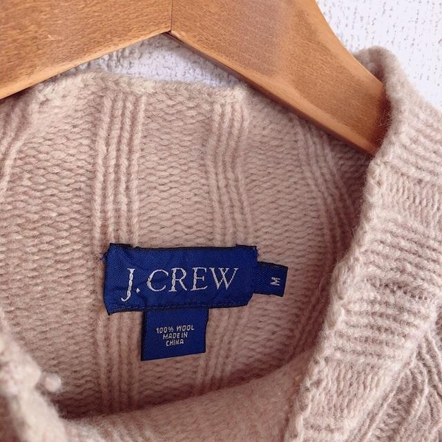 ◆J.CREW/ジェイクルー◆ウールニット★ベージュM*ウール100%ボトルネックニット♪ < ブランドの