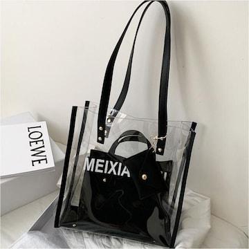 【黒】レディース 透明バッグ ショルダーバッグ ハンドバッグ