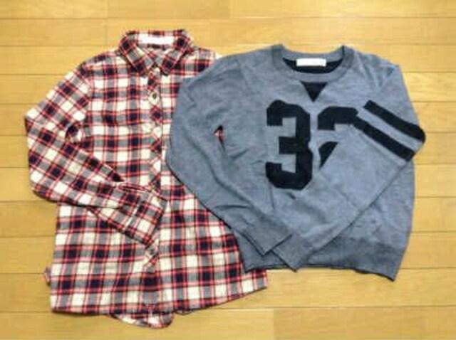 PEGGEY LANA(ペギーラナ)ナンバリングニット+2WAYネルシャツセット美品  < ブランドの
