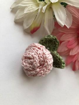 ハンドメイド ブローチ ヘアゴム レース糸で編んだ巻き巻き薔薇