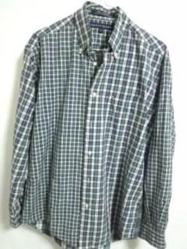 トミー チェックシャツ グリーンブルー系 ML位