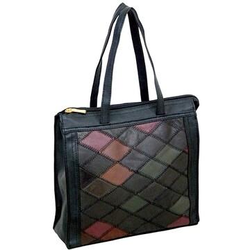 ◎高級羊革パッチワークミニトート型ハンドバッグ