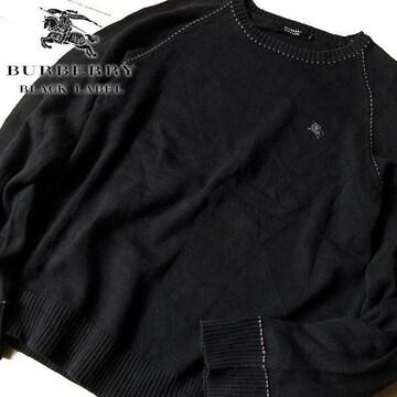 美品 3(L) バーバリーブラックレーベル メンズ ニット ブラック