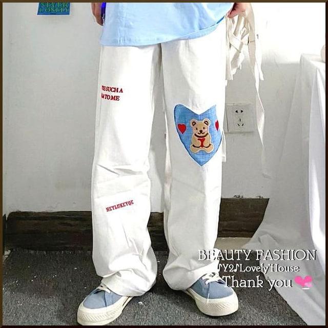 【〜W120】〜6L7L*ハートくまちゃん総ゴムスウェットパンツ* < 女性ファッションの