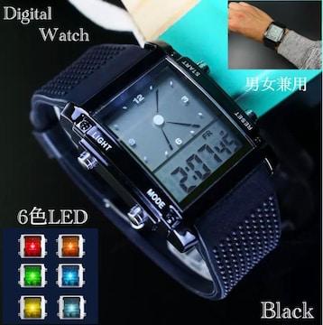 スポーツ腕時計 腕時計 時計 アナデジ式  LED デジタル 黒