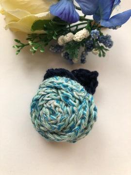 ハンドメイド ブローチ ヘアゴム 巻き巻き薔薇 コットン ブルー