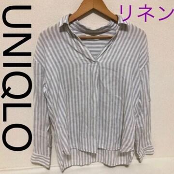 ストライプ リネンシャツ ブラウス UNIQLO