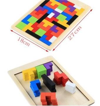 知育玩具 テトリスおもちゃ 木製おもちゃ カラフルブロック