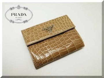 PRADA☆プラダ リアルクロコダイルレザー 二つ折り財布  美品