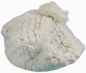 ニットケーブル柄 ベレー帽 ホワイト★新品