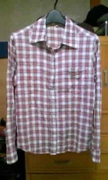 ユーズド加工 チェック柄 長袖シャツ Sサイズ 細身 赤×白 ロック 古着